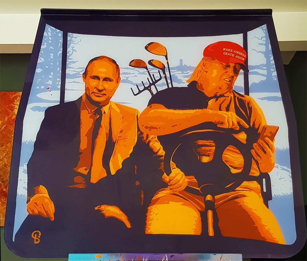 Trump and Putin painting on a Golf Cart Windshield